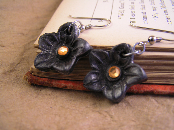 Summer blossom flower clay earrings with custom gem and color choices