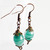 Green Glass Dangle earrings with copper