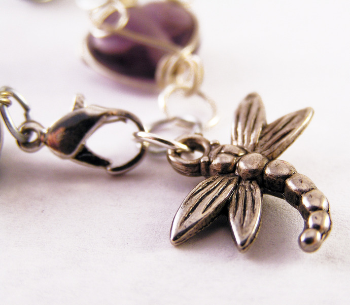 Wire wrapped bead bracelet with dragonfly charm