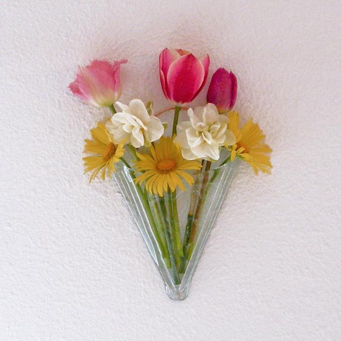 Handmade Recycled Glass Wall Pocket Vase, Cornucopia