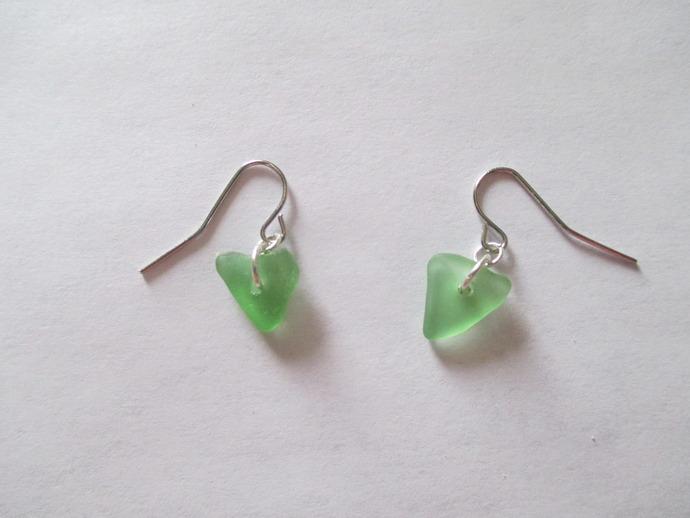Green Triangular Genuine Sea Glass Earrings