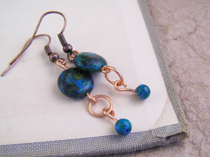 Australian sapphire jasper earrings with copper details