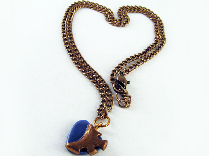 Blue Steampunk Heart Pendant with clockwork copper gear detail