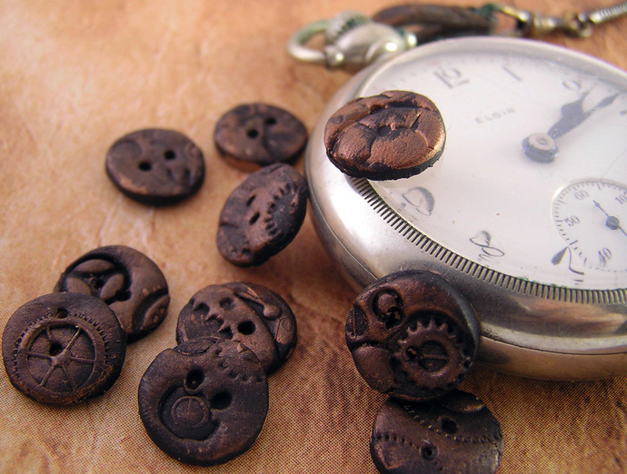 Round steampunk buttons, 12mm , set of 10