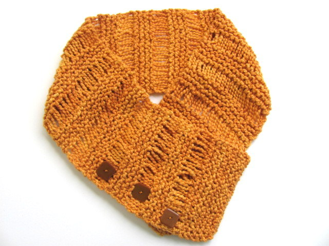 Cotton Pumpkin Vintage Buttons Cowl FREE US Shipping