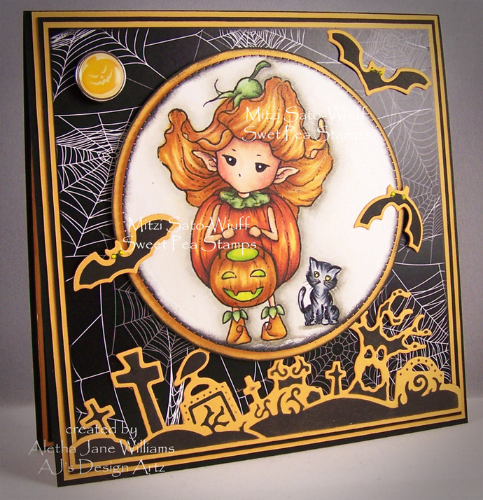 Trick or Treat Pumpkin Sprite OOAK Handmade Greeting Art Card