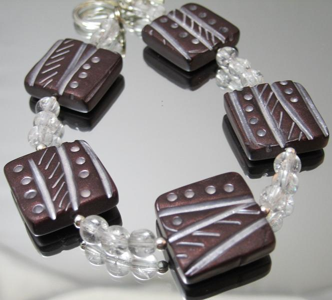 Mauve and Silver Bracelet
