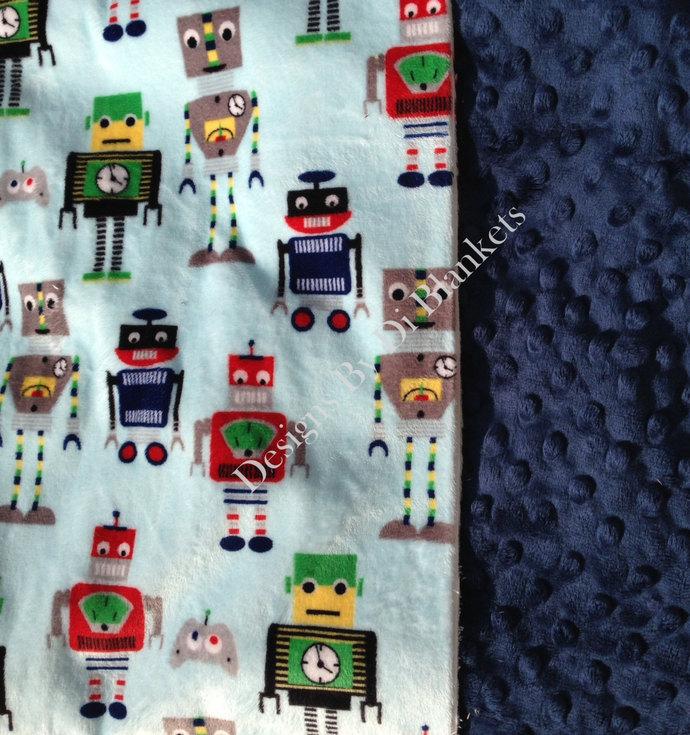 Minky Baby Blanket Robot Blanket, Minky Dot Back  Green Navy Yellow Red   Crib