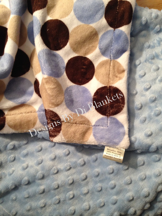 Minky Toddler Blanket Brown Blue Tan Retro Circle  Minky Dot Back   Toddler  40