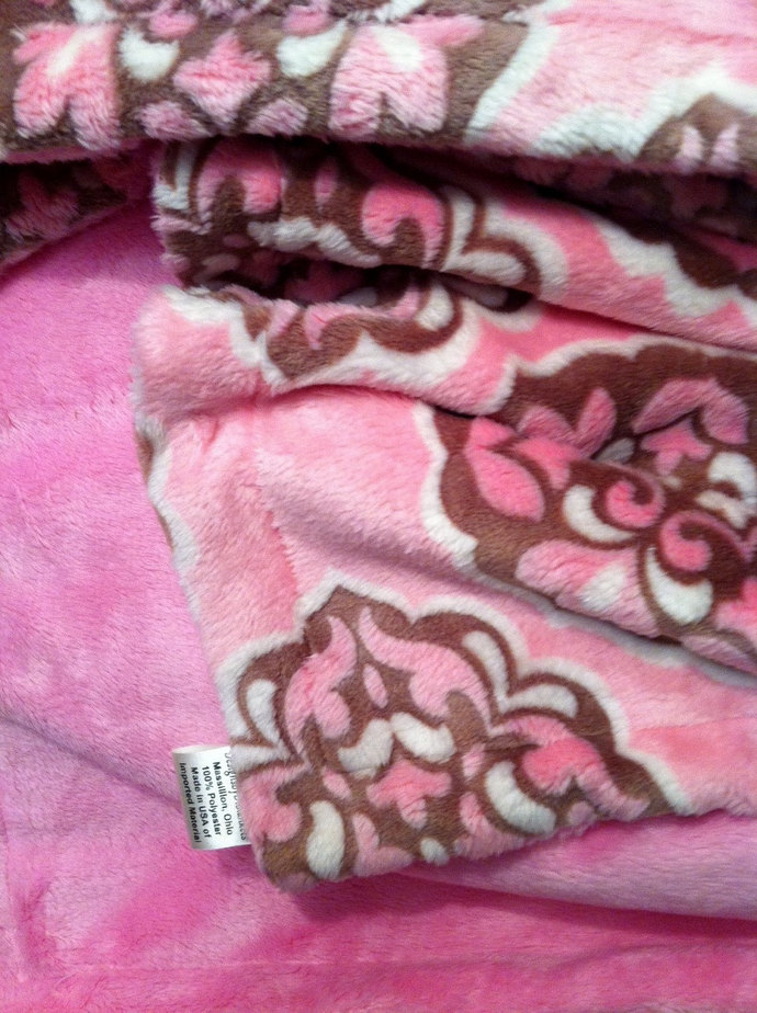 Pink  Baby Blanket Minky  Rose and Brown  Minky Brown Back  Girl Bedding  Infant