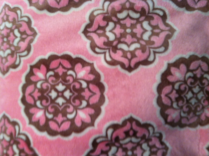 Pink Baby Blanket Minky  Rose and Brown Girl Nursery Bedding Crib Size 36 x 45