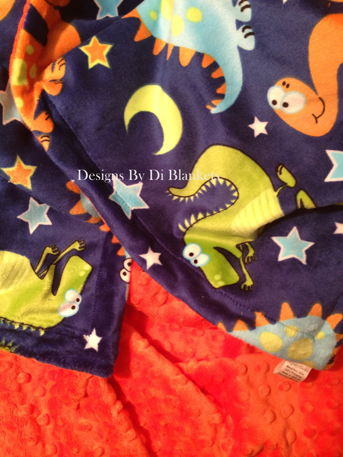 Baby Boy Minky Blanket  Dinosaur Navy and Orange  Infant Boy Bedding 29 x 36 in