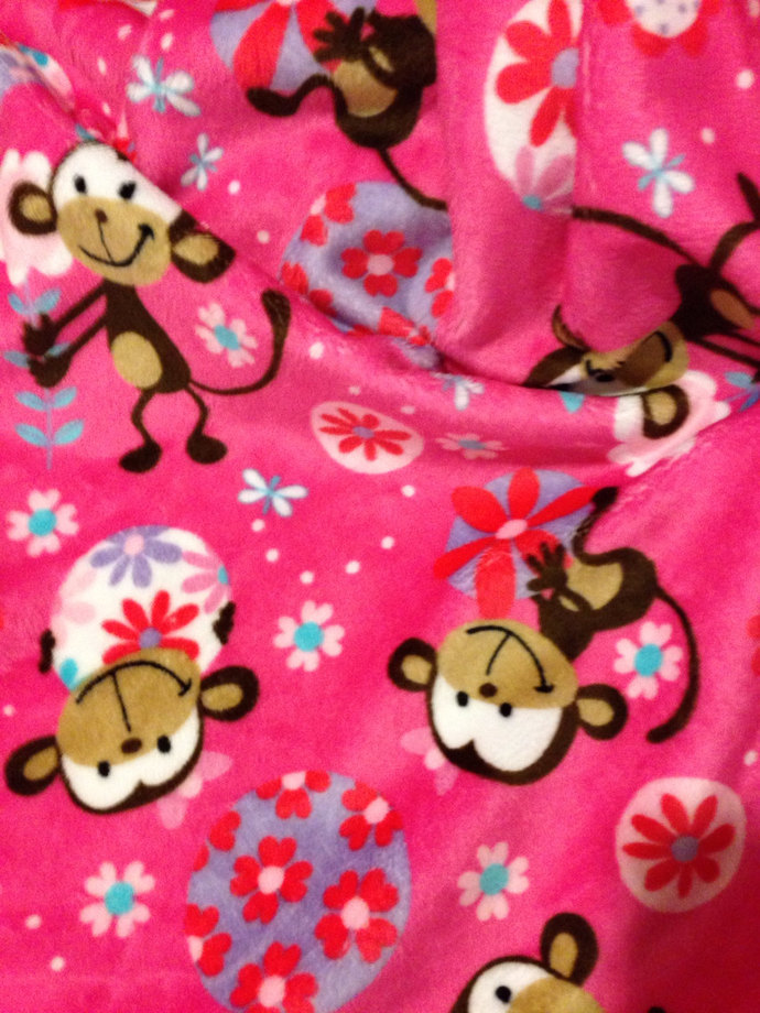 Minky  Toddler Blanket  Funky Monkey Floral Stripe Back. Toddler Size 40 x 50 in