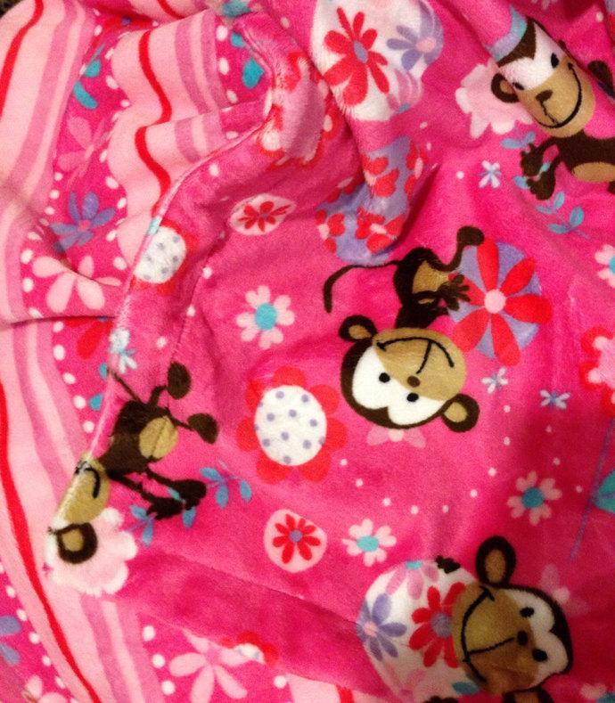 Minky Baby Blanket Funky Monkey Floral Stripe Back. Car Seat Stroller 29x36 in