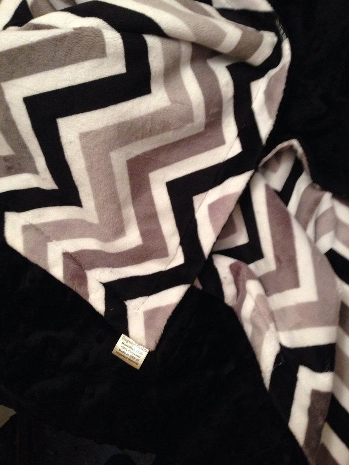 Baby Blanket Minky Chevron Black Grey Silver. Black Minky Dot Back.Crib Size 36