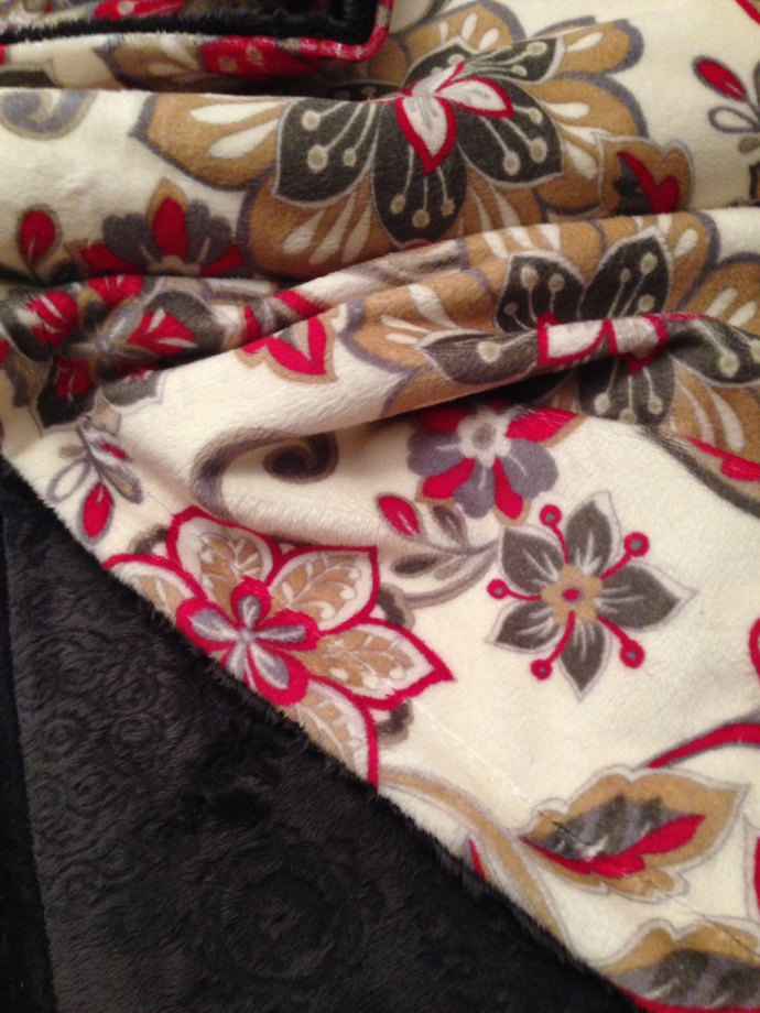 Minky Toddler Blanket Red and Grey Floral Throw Spice Medallion Embossed Back