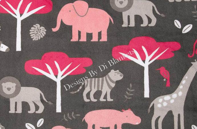 Minky Baby Blanket   Jungle Animals on Grey  with Watermelon  Minky Dot Back