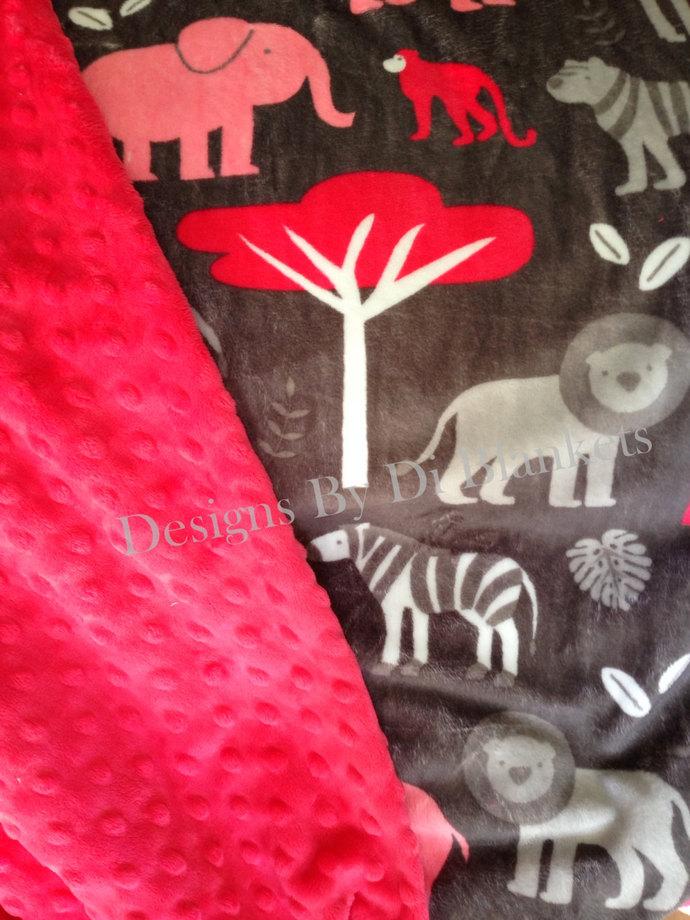 Minky Blanket Adult Throw  Jungle Animals on Grey  with Watermelon  Minky Dot
