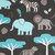 Minky Blanket Adult Throw  Jungle Animals on Grey  with Topaz Minky Dot Back