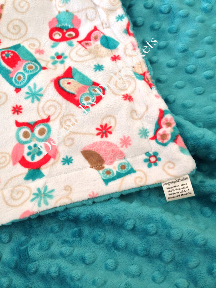 Minky Baby Blanket  White with Coral  and Teal Owls and  Minky Dot Back  Car