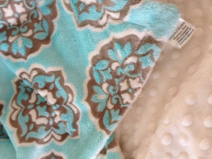 Minky Blanket Blue and Brown. Mar Bella  Ivory Minky dot back Toddler Size 40 x