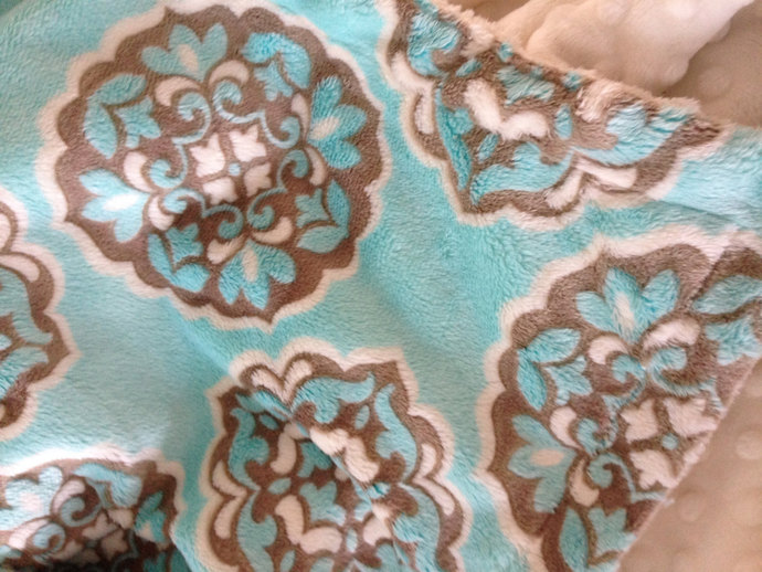 Minky Baby Blanket Blue and Brown. Mar Bella  Ivory Minky Dot Back Infant or