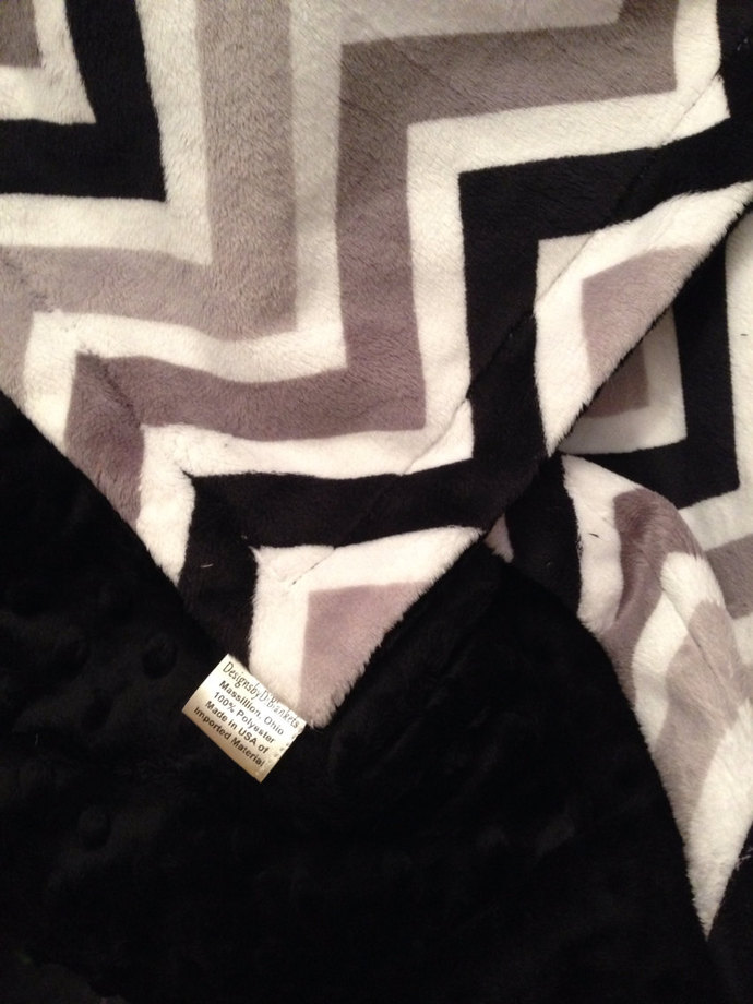Chevron Minky Blanket Black Grey Silver. Black Minky Dot Back.  Adult 50 x 60