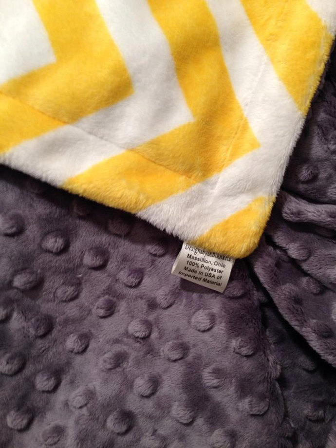 Chevron Minky Baby Blanket Yellow Grey Minky Dot Back  Crib Size 36 x 45