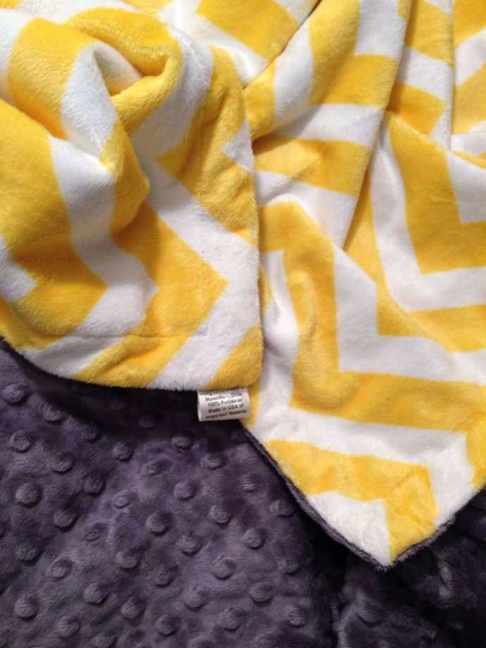 Yellow Chevron Minky Blanket Grey Minky Dot Back  Toddler /Lap Blanket Size 40 x