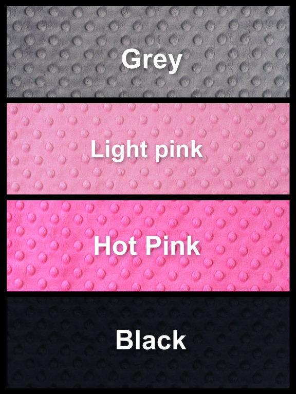 Minky Baby Blanket Silver Chevron Grey Minky Dot Back Pink Satin Ruffle  Crib