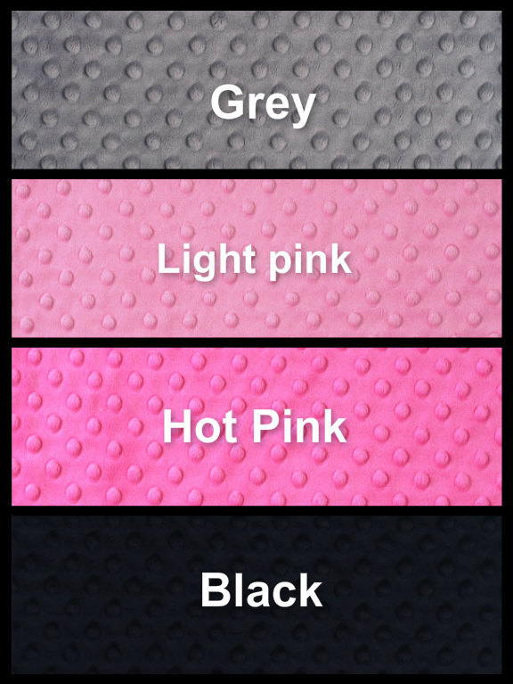 Minky Baby Blanket Silver  Chevron Grey Minky Dot Back Pink Satin Ruffle