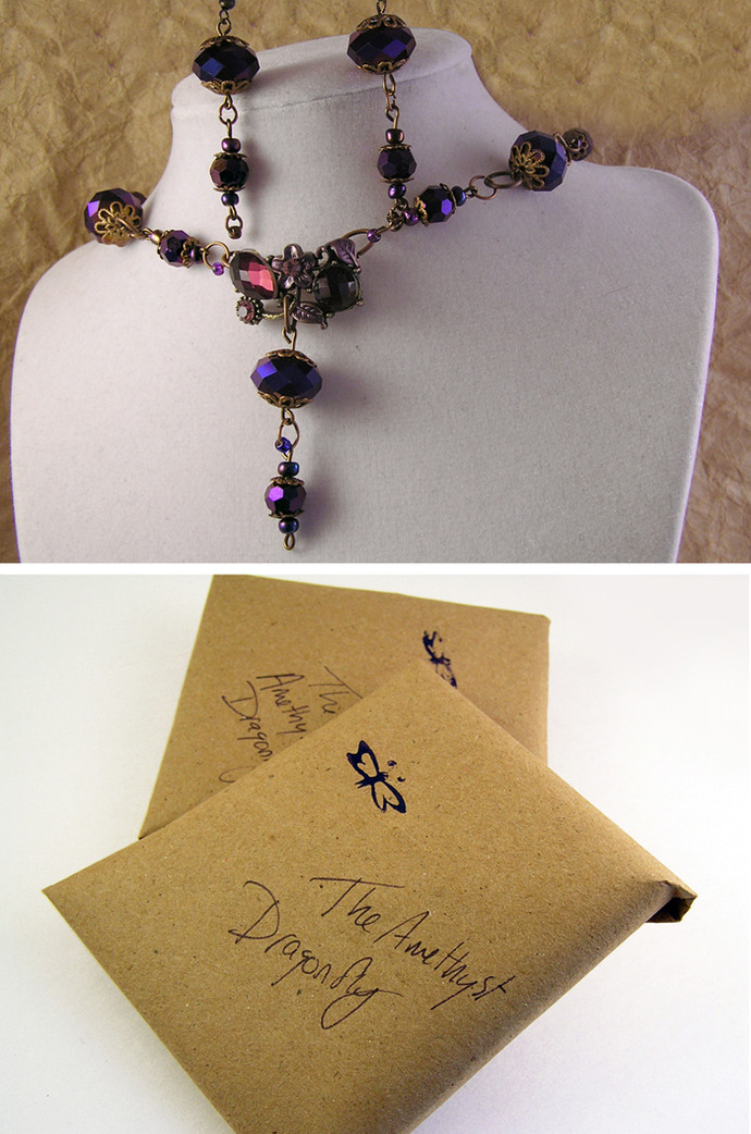 Purple Choker Necklace and Earring set  with faceted glass beads and copper
