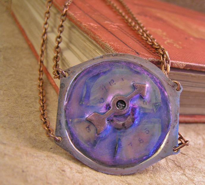 Steampunk watchface double copper chain choker necklace