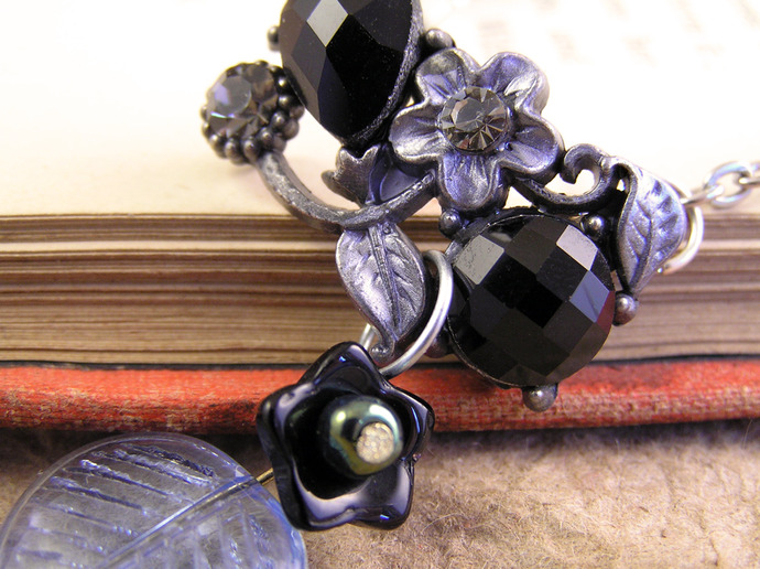 Black Floral choker with blue glass leaf bead on silver tone chain