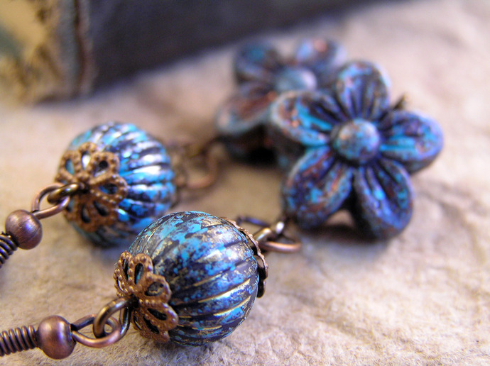 Spring Blossom Dangle earrings with antiqued finish beads