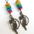 Colorful Parrot Earrings - Bronze Parrot Charm with Colorful Mother of Pearl