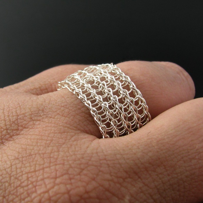 Silver double layer wire knit ring - Made to order