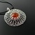 Faux amber and fine silver wire knit web pendant