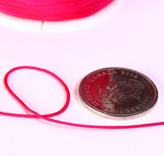 1mm Hot pink nylon cord - nylon thread - chineese Knotting Cord - Macrame thread