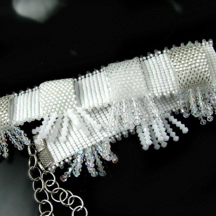 Bead loomed bridal choker with crystals - Shades of white