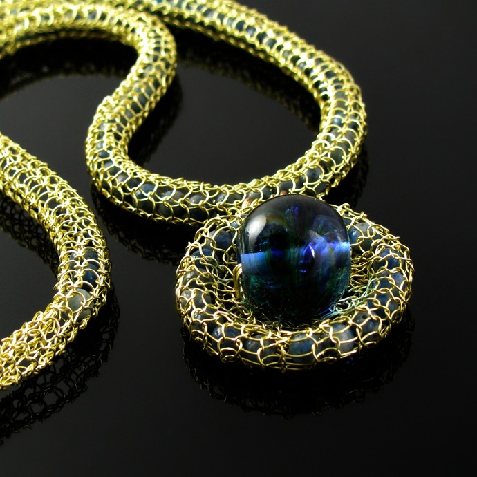 Golden wire knit necklace with lampwork and lapislazuli