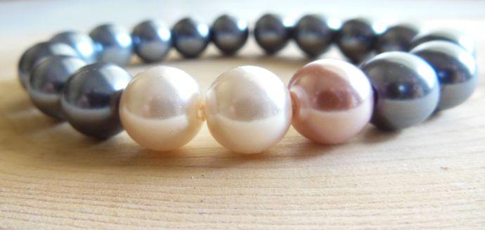 Handmade Slate Blue and Pink Stretchy Pearl Bracelet
