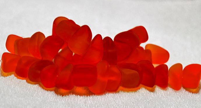 Tangerine Beach Pebbles- recycled sea glass beads