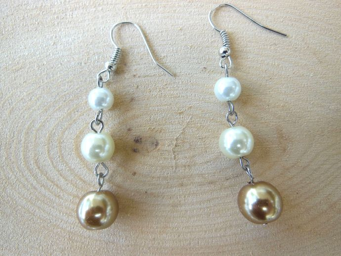 Handmade Ombre Glass Pearl Dangle Earrings