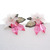 Large Vintage 50s Floral Earrings Acrylic Pink Bronze Clip-on