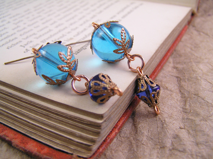 Blue cobalt glass earrings with copper filigree