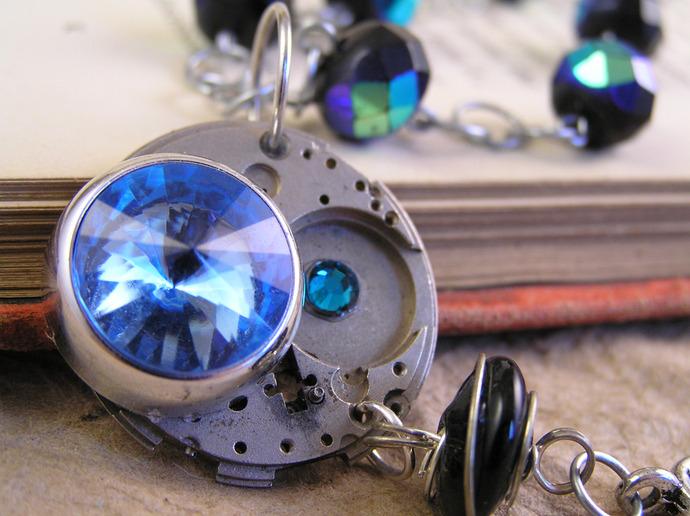 Steampunk watch movement choker necklace with blue gem, OOAK