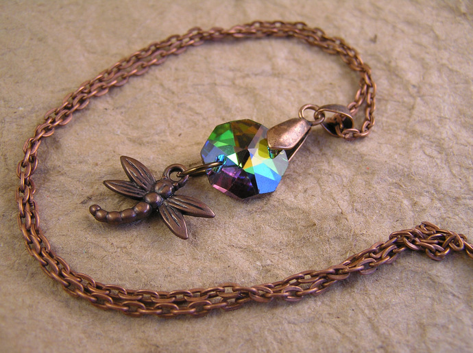 Dragonfly necklace with colorful rainbow glass crystal on copper chain