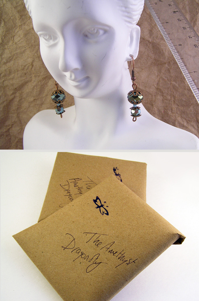 Parrot green faceted glass dangle earrings