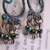 Hand aged Copper Chandelier earrings with metallic seed beads